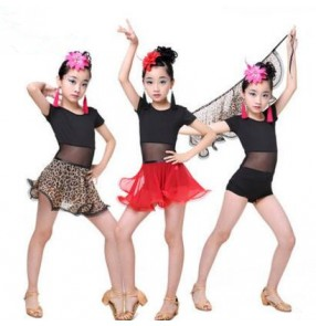 Black leotard tops leopard red chiffon hip scarf skirt girls kids children performance competition gymnastics latin salsa dance dresses set outfits