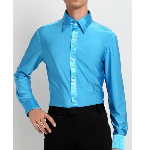 Black light blue turquoise red white men's show play turn down collar  ribbon side long sleeves competition performance professional ballroom tango waltz latin rhythm flamenco dance tops shirts for mens male