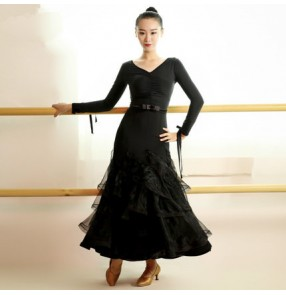 Black long sleeves v neck with sashes women's ladies female long length competition performance ballroom tango waltz dance dresses outfits dancewear