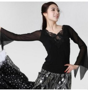 Black long trumpet sleeves v neck lace appliques  sexy fashion women's ladies female competition performance professional ballroom tango waltz flamenco dance tops blouses