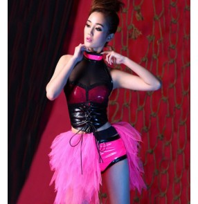 Black neon  hot pink fuchsia patchwork backless girls women's performance modern dance hip hop jazz dance costumes outfits