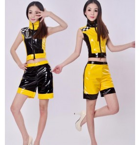 Black neon yellow patchwork pu  leather women girls kids children performance singer pole dance  jazz dance hip hop dancing costumes outfits