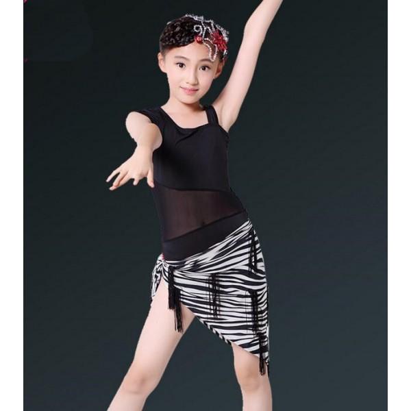 269b06345 Black one shoulder leotard tops girls triangle fringes hip scarf skirt girls  ...
