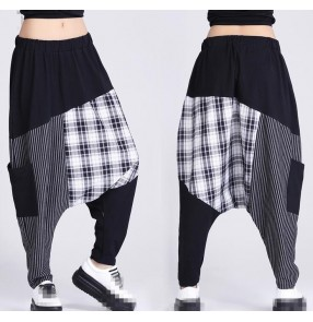 Black plaid striped baggy  pants  fashion women's ladies female stage performance hip hop jazz cosplay  dropped crotch harem pants trousers