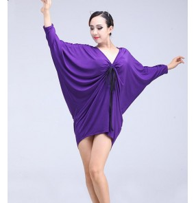 Black purple violet batwing loose sleeves v neck spandex women's ladies female competition gymnastics performance latin ballroom dance dresses tops