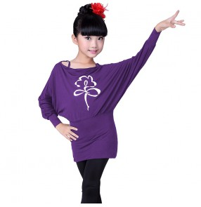 Black purple violet long bat wing sleeves top and spandex leggings girls kids children cottom gymnastics performance latin salsa dance dresses outfits costumes