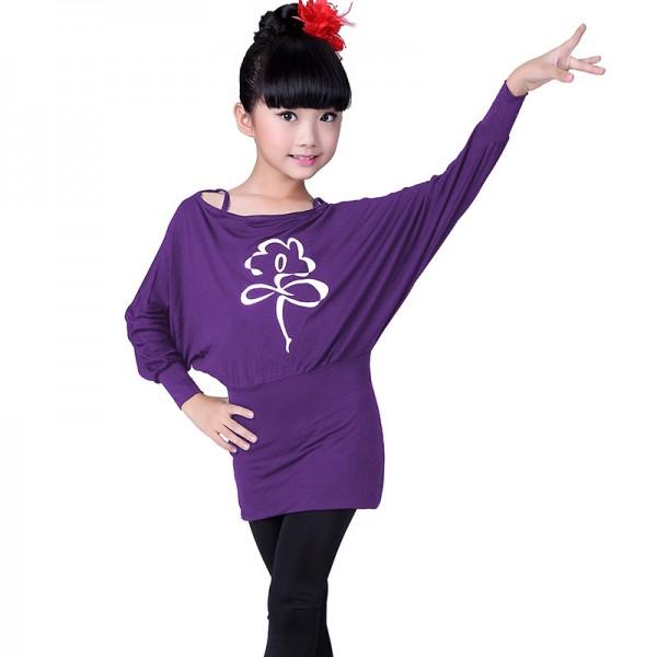 7390c1b10 Black purple violet long bat wing sleeves top and spandex leggings girls  kids children cottom gymnastics performance latin salsa dance dresses  outfits ...