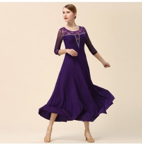 Black purple violet middle mesh long sleeves lace patchwork women's ladies female competition full skirted performance ballroom tango waltz dance dresses outfits