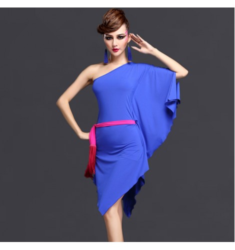 70c01e9c2126 Black purple violet royal blue one shoulder bat wing loose sleeves inclined  shoulder women s ladies female competition stage performance professional  latin ...