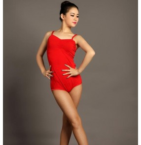 Black red backless sleeveless spandex microfiber women's ladies fashion competition performance latin ballroom dancing dance tops leotards bodysuits