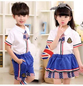 Black red blue patchwork  star striped England style girls boys children kids kindergarten school play modern dance chorus  performance uniforms outfits  costumes set