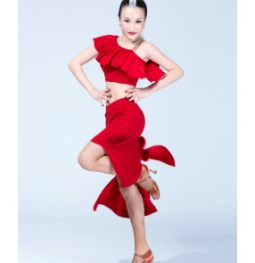 Black red colored women's ladies female short sleeves  one shoulder back split skirt competition professional performance latin dance dresses set