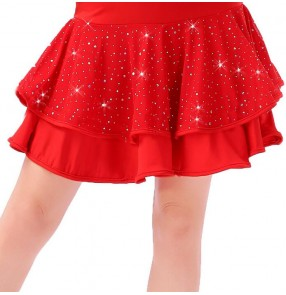 Black red double layers sequins mini length women's ladies female leotard latin salsa samba cha cha dance skirts