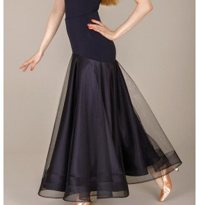 Black red fish bone hem two layers big skirts women's ladies female competition performance professional long length ballroom tango waltz flamenco dance skirts