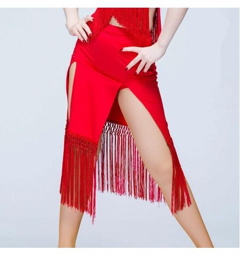 bc733394d Black red fringes sexy fashion girls women's split tassels competiiton  performance gymnastics leotards latin salsa cha cha rumba samba dance skirts