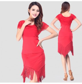 Black red fringes short sleeves women's ladies female competition stage performance latin salsa samba rumba dance dresses outfits sets