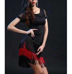Black red fringes tassels  short sleeves  round neck women's ladies female competition performance latin dance dresses sets