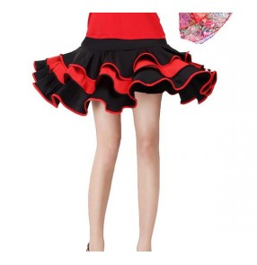 Black red fuchsia hot pink black patchwork mini length women's ladies female competition performance practice gymnastics latin salsa cha cha samba dance skirts
