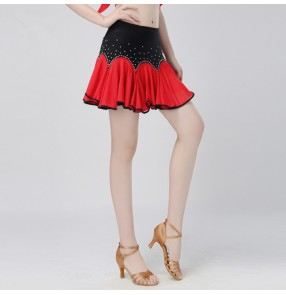 Black red fuchsia hot pink rhinestones patchwork short length women's ladies female competition performance professional latin salsa dance skirts