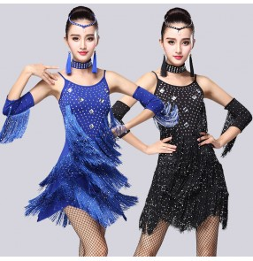 Black red fuchsia hot pink royal blue sequins diamond fringes tassels women's ladies female competition performance latin salsa cha cha dance dresses outfits