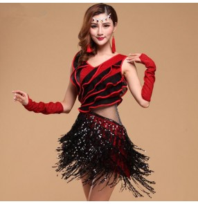 Black red fuchsia hot pink sequined v neck with gloves and fringe earrings women's ladies female competition performance latin dance dresses