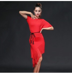 Black red fuchsia hot pink short sleeves backless round neck fringes women's ladies female competition performance samba salsa latin dance dresses