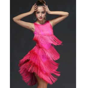 Black red fuchsia hot pink tank bandage backless women's ladies female v neck fringes competition professional performance latin salsa samba dance dresses