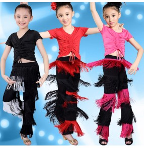 Black red fuchsia hot pink turquoise blue black patchwork fringes tassels short sleeves girls kids children stage performance latin salsa dance costumes outfits