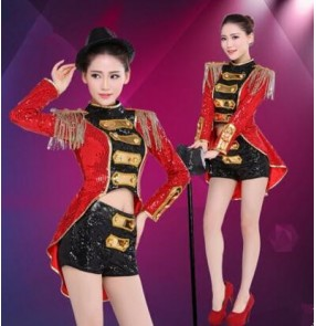 Black red gold patchwork sequins paillette women's ladies female long sleeves vintage Europe style tuxedo club party  modern dance jazz ds singer performance dancing outfits costumes