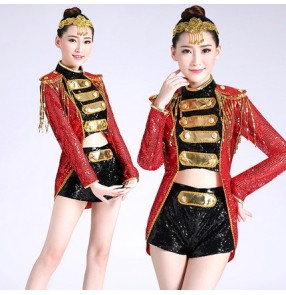Black red  gold sequins long sleeves women's ladies female fashion sexy stage performance jazz ds singer hip hop dance dresses outfits
