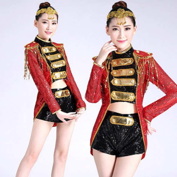 Black Female Fashion: Black Red Gold Sequins Long Sleeves Women's Ladies Female
