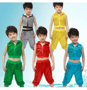Black red green yellow gold turquoise sequined boys girls modern dance stage performance school play hip hop jazz dance outfits costumes with hats