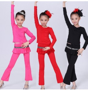 Black red Hot pink fuchsia yellow blue turquoise cotton spandex long sleeves girls kids children school play gymnastics performance latin salsa cha dance oufits costumes