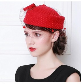 Black red ivory wine red 100% wool handmade vintage women's ladies female performance party England bridal  fashion pillbox top hats veil fascinators fedoras dress hats