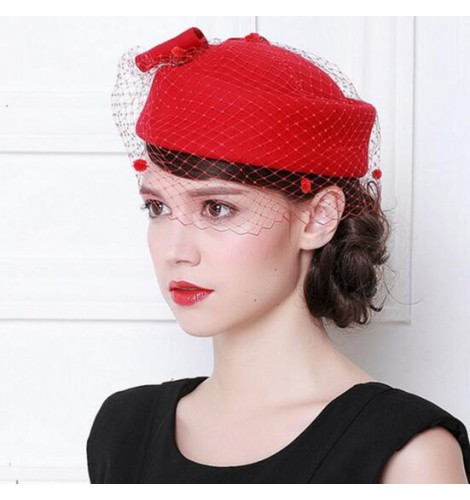 9574797df95 Black red ivory wine red 100% wool handmade vintage women s ladies female  performance party England bridal fashion pillbox top hats veil fascinators  fedoras ...