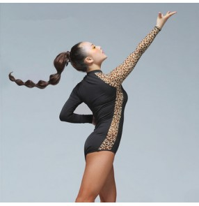 Black red Lace leopard patchwork one long  sleeves turtle neck competition performance professional latin ballroom tango waltz dance leotard tops bodysuits blouse