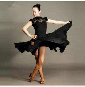 Black red lace patchwork hollow back and front leotard tops and side split skirts women's performance competition latin ballroom dance dresses sets