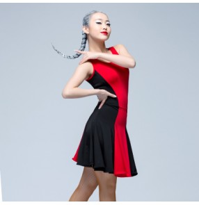 Black red leopard black patchwork sleeveless women's ladies female competition professional latin ballroom dance dresses