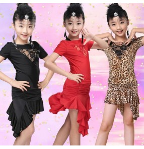 Black red leopard zebra royal blue lace patchwork front hollow lace short sleeves irregular skirt girls kids children performance school play latin salsa cha cha dance dresses outfits