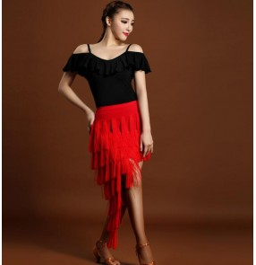 Black red leotard ruffles neck dew shoulder tops fringes skirts women's female competition performance latin dance dresses sets outfits