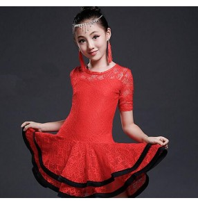 Black red light pink lace material short sleeves fashion girls kids children performance school play latin salsa cha cha dance dresses outfits