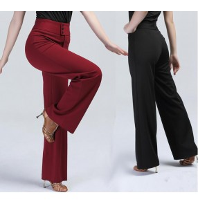 Black red long length high waist women's ladies female loose wide legs swing  competition practice performance professional latin ballroom dance pants trousers