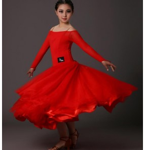Black red long sleeves round neck  back girls kids children  school play competition professional performance dresses outfits
