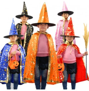 Black red orange blue purple with gold star printed girls kids children boys Halloween witch wizard fancy cos play Christmas performance cloaks robes