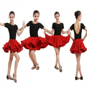 Black red patchwork backless short sleeves girls kid children stage performance big ruffles skirts latin salsa  samba rumba dance dresses outfits costumes