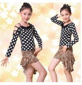 Black red polka dot long sleeves girls kids children stage performance competition professional latin salsa rumba samba dance dresses outfits costumes