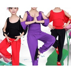 Black red purple violet exposure shoulder spandex cotton girls kids children performance school play gymnastics latin salsa cha cha dance costumes outfits
