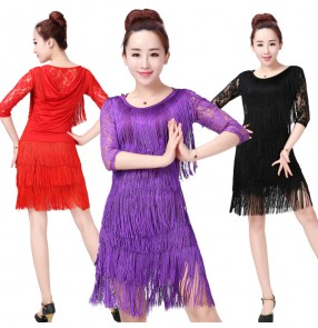 Black red purple violet hot pink fuchsia lace fringes patchwork middle long sleeves  women's ladies female competition performance latin salsa cha cha dance dresses  outfits
