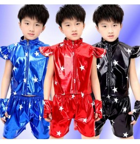 Black red royal blue boys girls kids child children toddlers kindergarten baby t show stage performance jazz dj modern dance jazz dance costumes