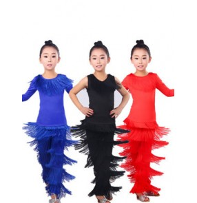Black red royal blue fringes girls kids child children performance long pants latin salsa cha cha dance dresses set outfits